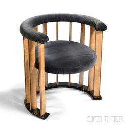 Art Deco-style Upholstered Barrel-back Chair