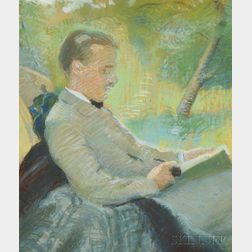 Boston School, 19th/20th Century      Two Plein-air Portrait Studies:  Gentleman Reading