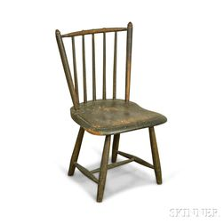 Child's Black-painted Rod-back Windsor Side Chair
