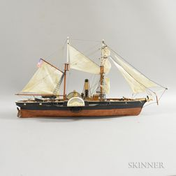 Small Carved and Painted Wood Ship Model of a Paddle Steamer