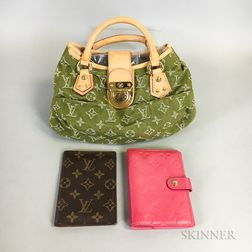 Green Louis Vuitton Handbag and Two Louis Vuitton Accessories