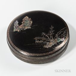 Seashell-inlaid and Lacquered Covered Box