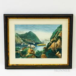 Framed Currier & Ives Lithograph of the Hudson River