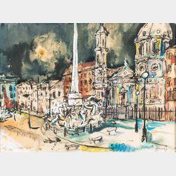 Albert Alcalay (American, 1917-2008)      Piazza Navona