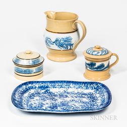 Three Blue Dendritic Mocha Yellowware Table Items and a Blue Spongeware Platter