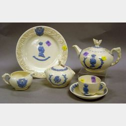 Six-Piece 1939 Wedgwood Blue and White Embossed Queens Ware Commemorative Sovereign Tea Set.