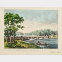 Nathaniel, Currier, publisher (America, 1813-1888)      View on the Harlem River, N.Y.  The Highbridge in the Distance.
