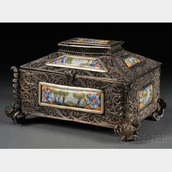 Continental Silver Filigree and Enameled Copper-mounted Box