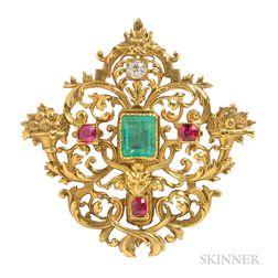 Renaissance Revival 18kt Gold Gem-set Brooch