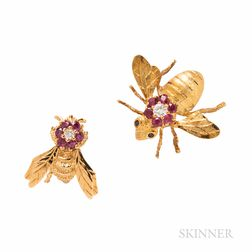 Two Gold, Ruby, and Diamond Insect Brooches