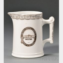 UNITED STATES HOTEL BOSTON  Transfer-decorated Pitcher