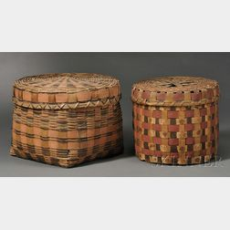 Two Painted Woven Splint Covered Baskets