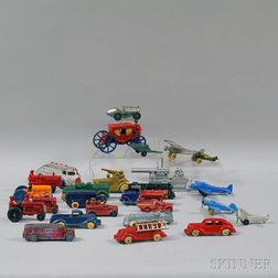 Twenty-five Small Painted Cast Metal and Iron Vehicles and Airplanes