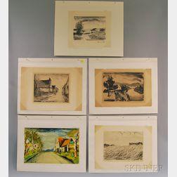 By or After Maurice de Vlaminck (French, 1876-1958)      Five Landscape Views: Paysage d'Eté