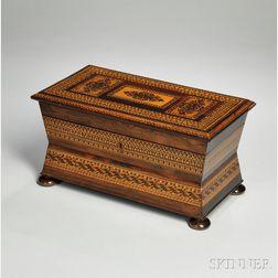 Inlaid Rosewood Casket-form Tea Caddy