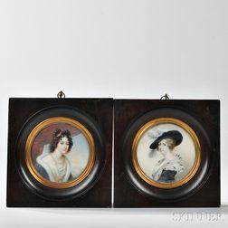 Two Portrait Miniatures of Ladies