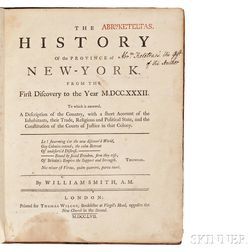 Smith, William (1728-1793) The History of the Province of New-York, from the First Discovery to the Year M.DCC.XXXII, Ex Dono Authoris.