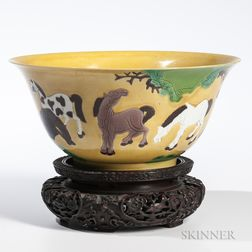 Yellow Bowl with Horses