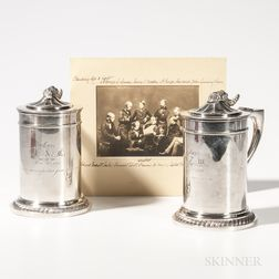 Two Silver Club of the Brudershaft Presentation Tankards