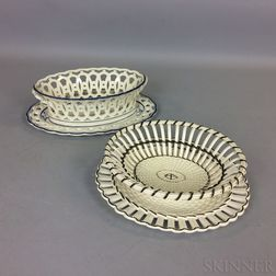 Two Wedgwood Queen's Ware Ceramic Baskets and Underplates