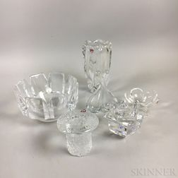Six Orrefors Colorless Glass Bowls and Vases