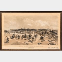 Lithograph View of the Public Garden & Boston Common