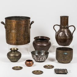 Eleven Mostly Engraved and Repousse Copper and Brass Items