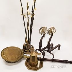 Group of Brass Fireplace and Hearth Items