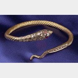 18kt Gold, Diamond, and Ruby Snake Bangle