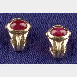 18kt Gold and Ruby Earclips, Adler Geneva