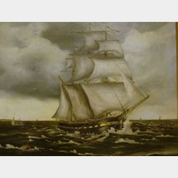Framed 19th Century British School Oil on Canvas of the Ship Man o' War