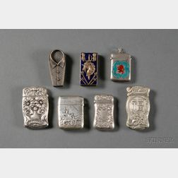 Seven Silver and Silver Plate Matchsafes