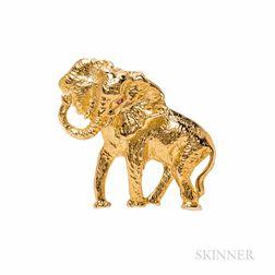 14kt Gold Elephant Brooch