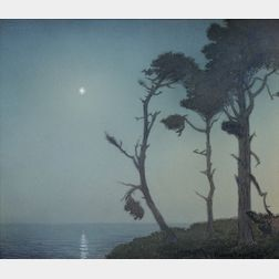 Ferdinand Burgdorff  (American, 1881-1975)      The Evening Star--Cypresses and Starlight