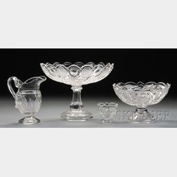 Four Colorless Pressed Pattern Glass Items