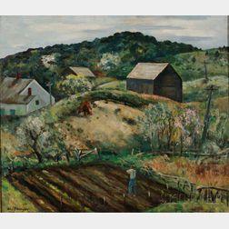 Helen Alton Farnsworth Sawyer (American, 1900-1999)      North Truro Farm Scene with Houses