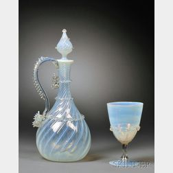 Venetian Glass Opaline Decanter and Goblet