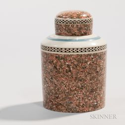 Slip-banded Creamware Tea Canister with Lid