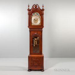 Walter H. Durfee & Co. Pattern 21 Carved Mahogany Nine Tubular-bell Hall Clock