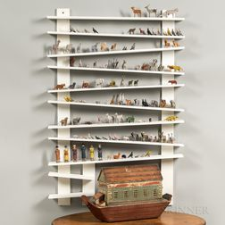 Polychrome Painted Noah's Ark with Animals and Display Shelf