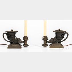 Pair of Grand Tour Regency-style Bronze Colza-oil Rhyton Lamps