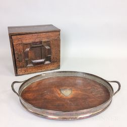 English Silver-plate and Oak Tray and an Oak Spice Chest