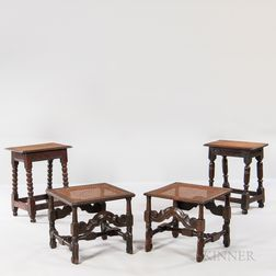 Two Oak Joint Stools and a Near Pair of Caned Stools
