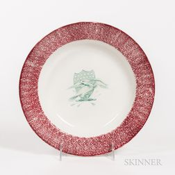 Red Spatterware Soup Plate with Transfer-decorated Eagle