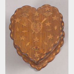 Sailor-made Inlaid Wooden Heart-shaped Sentiment Box