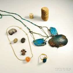 Group of Faience and Carved Beaded Jewelry