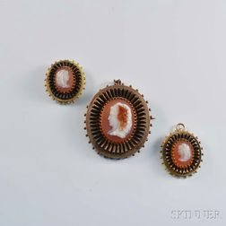 Glass Cameo Brooch and Two Similar Pendants