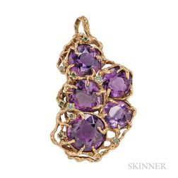 18kt Gold Amethyst, and Color-treated Diamond Pendant/Brooch, Arthur King