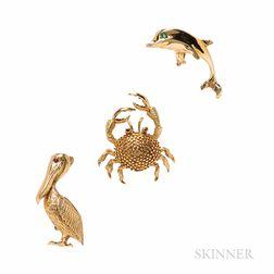 Three 14kt Gold Animal Jewelry Items