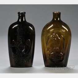 Two Colored Blown-molded Glass Historical Flasks